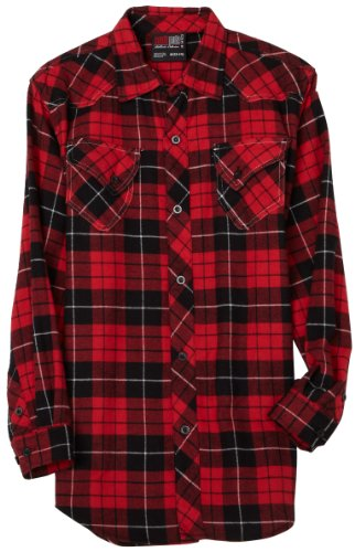 Southpole Big Boys' Western Plaid Flannel Shirt, Red, Medium