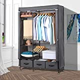 Lifewit Full Metal Closet Organizer Wardrobe Closet Portable Closet Shelves with Adjustable Legs, Non-Woven Fabric Clothes Cover and 3 Drawers, Sturdy and Durable