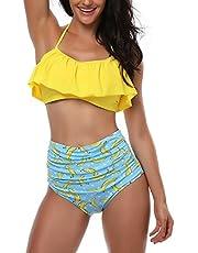AMAGGIGO Badeanzug für Damen hoch taillierte Halter Vintage Push-up Bikini Set Damen Plus Größe 2-Stück Bademode (FBA) (EU 38-40, Gelb Blau)