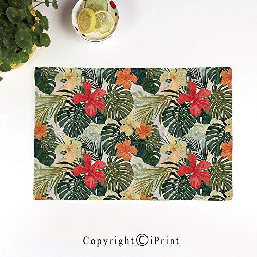 (Linen Placemats Table Mats Eat Meal Mat,Natural Set of 6,17.5x11.5 Inch Flax Natural Fabric,Hawaiian Summer Tropical Island Vegetation Leaves with Hibiscus Flowers Decorative,Green Orange and Yellow)