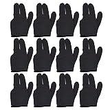 T&R Sports - Guantes de billar (12 unidades), color negro