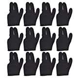East Eagle Billiards Glove 12 PCS Snooker Shooter Cue Pool Gloves Left Hand Open 3 Finger Spandex Glove