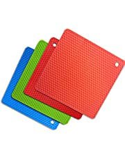 IXINU Silicone Trivet Mats | Hot Pot Holders | Drying Mat. Heat Resistant to 446°F(230°C), Non-slip,durable, flexible easy to wash and dry and Contains 4 pcs
