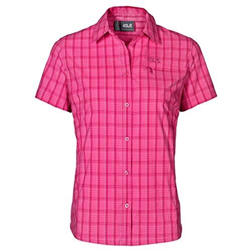 Camisa Jack Wolfskin Centaura Stretch Vent para mujer, cuadros rosa trópico, mediano