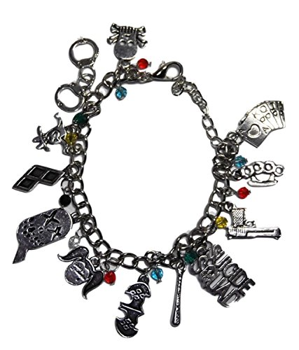 DC Comics Suicide Squad Harley Quinn Silvertone Metal 12 Charms - Bracelet Harley Quinn