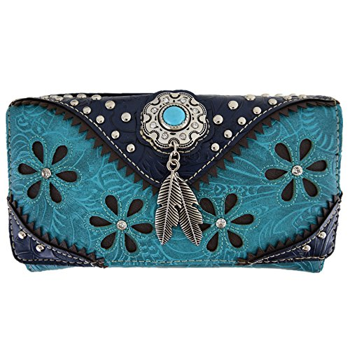 - Western Feather Tooled Leather Laser Cut Purse Single Shoulder Bag Clutch Women Blocking Wristlets Wallet (Turquoise)
