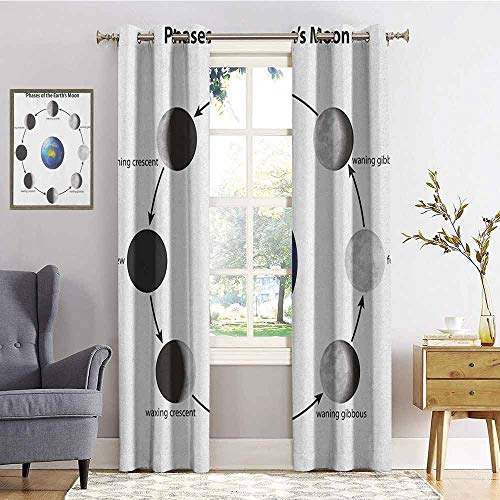 hengshu Educational Shading Insulated Curtain Phases on The Moon as seen from Earth Celestial Rotation Astrology Cycle for Living Room or Bedroom W72 x L84 Inch Black Grey Blue