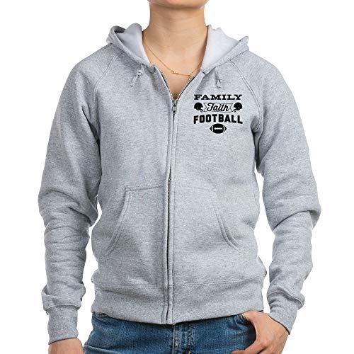 CafePress Family Faith Football Womens Zip Hoodie, Classic Hooded Sweatshirt with Metal Zipper Light Steel (Faith Zip Hoodie)