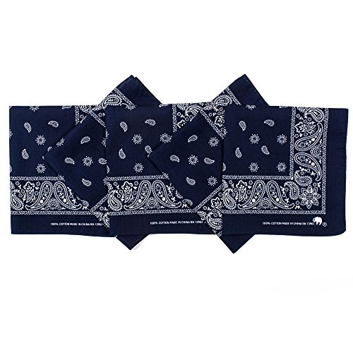 Original Elephant Brand Bandanas 100% Cotton Since 1898-5 Pack (Navy)