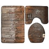 Rustic Country Wood Style Rustic Country Barn Wood Door Set Non-Slip Bathroom Mat Set Lid Toilet Cover Pedestal Rug.