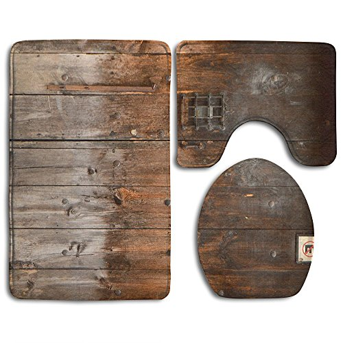 - Rustic Country Wood Style Rustic Country Barn Wood Door Set Non-Slip Bathroom Mat Set Lid Toilet Cover Pedestal Rug.