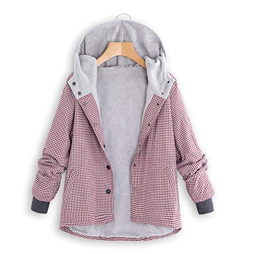 Womens Winter Elegant Warm Outwear Plaid Lattice Hooded Pockets Oversize -