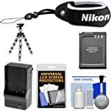 Nikon Coolpix Floating Wrist Strap with EN-EL12 Battery & Charger + Flex Tripod + Accessory Kit for S31, AW110, AW120, AW130 Digital Camera