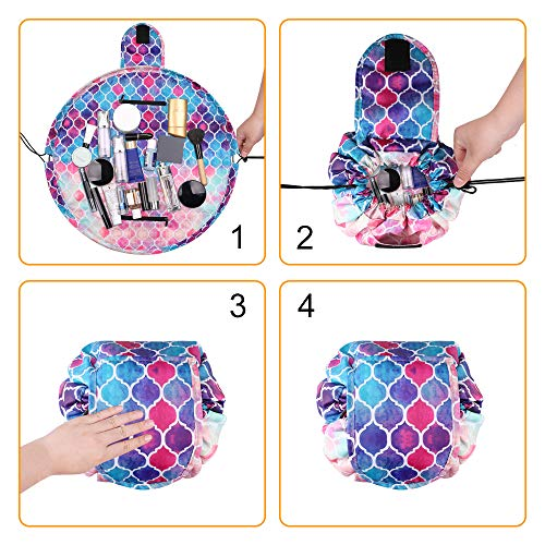 Cosmetic Bag Lazy Makeup Organizer, Fintie Waterproof Portable Drawstring Large Capacity Travel Toiletry Storage Pouch Case for Women Girls, Moroccan Love by Fintie (Image #8)