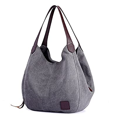 DOURR Women's Multi-pocket Shoulder Bag Fashion Cotton Canvas Handbag Tote Purse