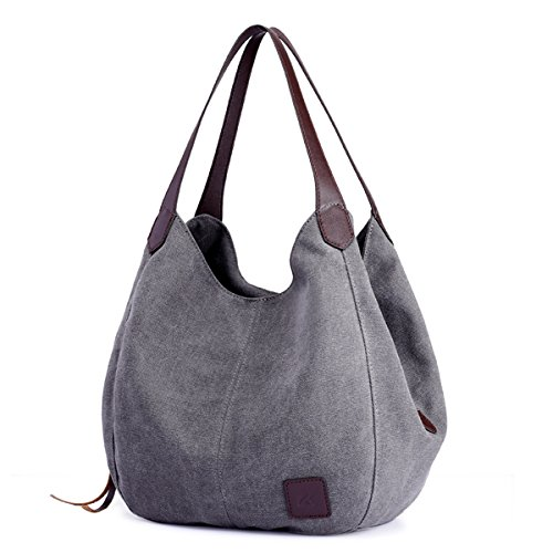- DOURR Women's Multi-pocket Shoulder Bag Fashion Cotton Canvas Handbag Tote Purse