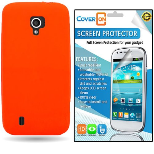 CoverON ZTE Source / Majesty Silicone Rubber Soft Skin Case Cover Bundle with Clear Anti-Glare LCD Screen Protector - Neon Orange