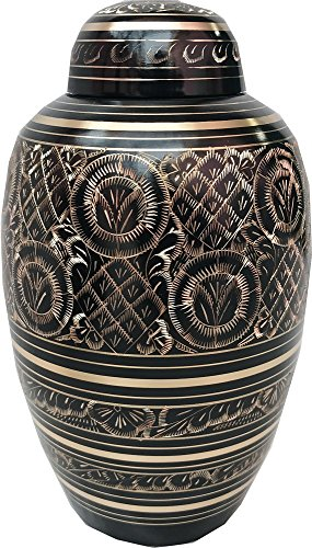 Brass Urns for Human Ashes Adult by, Large Cremation Urns for Ashes Large, Hand Carved Funeral Urns for Dogs, Dome Top Keepsake Urns, Dog Urns, Pet Urns, Cat Urns, Urns 250 Cu/In