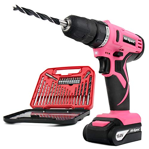 Hi-Spec Pink 10.8V Cordless Drill Driver with 1500 mAh Lithium-Ion Battery,...