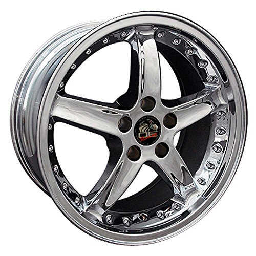 Chrome Wheel 18x9 Mustang Cobra R Deep Dsh Style w/Rivets for 94-04 Ford Mustang