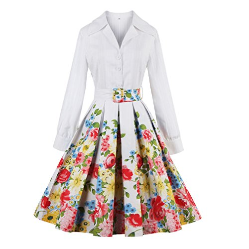 Abajo Correas Blanco algodón Largas Vestidos hacia Vestido Floral Gire Mujer Blanco Spring Las Collar Flower Retro Mujeres Mangas de el Parte Feminino Vestido qXFP4Sa