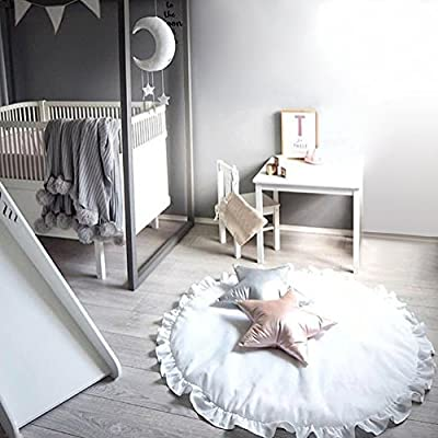 Pueri Children Baby Game Mat Baby Anti-Slip Game Mat 100% Cotton Floor Play Mat Blanket Play Environmental Carpet Kids Room Decor Baby Rugs Creeping Crawling Mat Cartoon Sleeping Rugs (White): Baby
