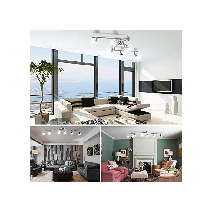51 bRiqlw8L 🌞Diseño Moderno: Esta lámpara de techo salón es fabricado con efecto de níquel mate, bien acabado. Es ajustable que conviene por su versatilidad y baja generacion de calor. Destaca por su elegancia, delicada, resistencia y antioxidante. Perfecto para techo e interiores. 🌞Montaje Fácil: La lámpara techo focos LED se pueden reemplazar por GU10 (menos de 50W). No solo ofrece una iluminación LED de fácil montaje con transformador incluido, sino que estos focos de 230V se pueden utilizar en habitaciones, dormitorios, cocinas, pasillos, etc. Ojo: Instalar el soporte con un destornillador en la pared & techo, conectar la lámpara al soporte sin hacer agujero. 🌞Pivotante: wowatt lámpara foco de 6W son orientables y ajustables a propia preferencia. Longitud total de la luz del techo: 120 cm. Amplitud de la varilla: 1,2 cm. Dimensiones de la base: 8 x 8cm. Sumergen cada habitación con una iluminación adecuada gracias a sus cabezales giratorios. Ofrecen una larga vida útil de mas de 30000h de luz blanca fría.