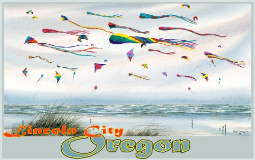 Northwest Art Mall Lincoln City Oregon Flying Kites Unframed Prints by Dave Bartholet, 11-Inch by - Beach South Mall Lincoln