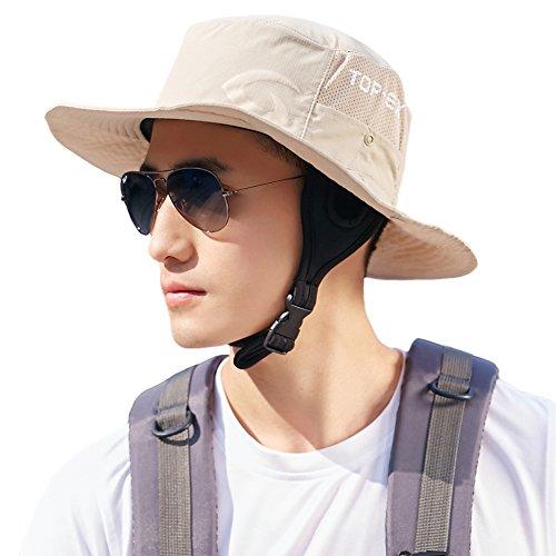 Siggi Unisex Outdoor UPF 50+ Mens Packable Boonie Sun Hat Bucket Beige L