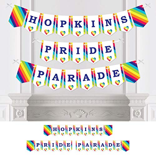 Big Dot of Happiness Personalized Love is Love - Gay Pride - Custom LGBTQ Rainbow Party Bunting Banner & Decorations - Pride Parade Custom Banner