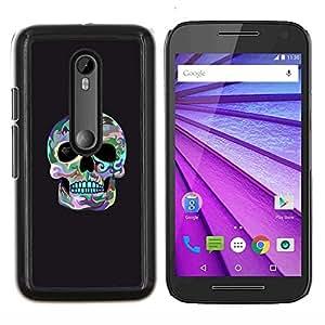 """Be-Star Único Patrón Plástico Duro Fundas Cover Cubre Hard Case Cover Para Motorola Moto G (3rd gen) / G3 ( Cráneo Surf gris fresco de la Muerte cuenca del ojo"""" )"""