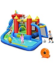 DORTALA Inflatable Bounce House Castle, 6 in 1 Water Slide Jumping Park with Jumping Area, Climbing Wall, Splashing Pool, Cannon, Ball Gate, Including Oxford Carry Bag, Repairing Kit, Stakes (with 740W Air Blower)