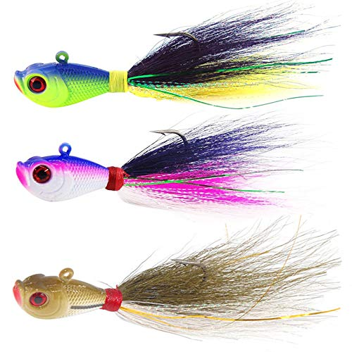 Shaddock Fishing Bucktail Jig Fluke Lures Saltwater Freshwater Fishing Baits Assorted Kit for Bass Striper Bluefish Surf Fishing Size 2 OZ Pack of 3(Mixed-Color)
