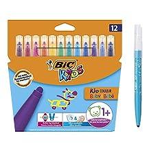 Bic Kids Kid Couleur Baby Rotuladores Punta Extra Ancha - Colores surtidos, Blíster de 12 Unidades