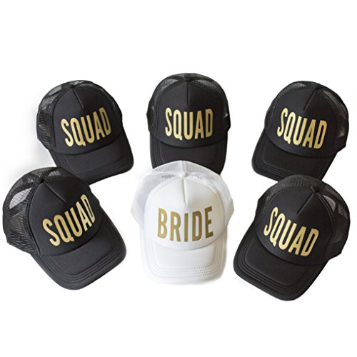 6 Pack Bride Squad Baseball Hat Bachelorette Party Bridal Wedding Shower Mesh Caps Adjustable Headwear for Girls Women