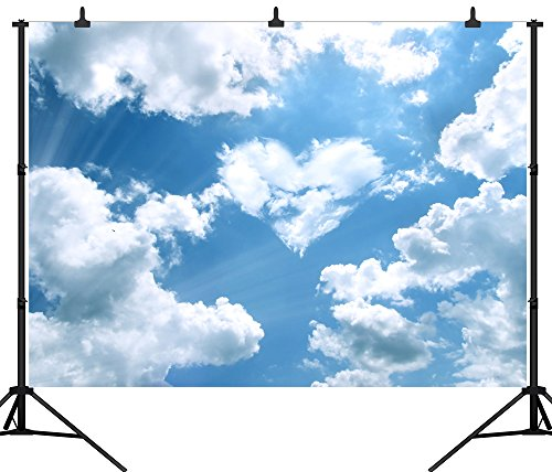 DePhoto 7X5FT(210X150CM) Heart Shape Blue Sky White Clouds