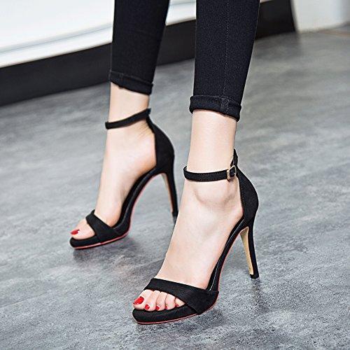 black Des Bien Daim Maigre À Un Bien Correspondent Sexy Club KHSKX Chaussures Sandales Avec De Rome Toutes wqESxaH