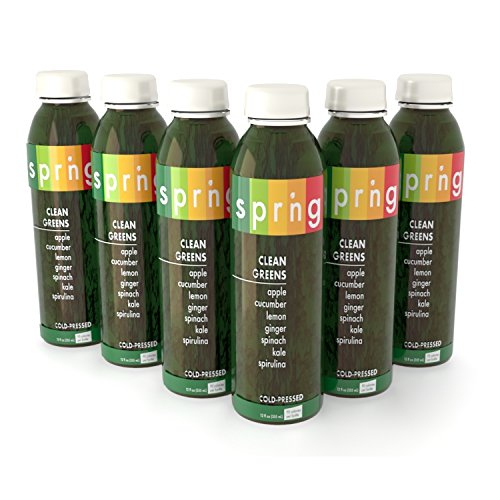 Clean Greens by SPRNG Premium Juices, Cold-Pressed Green Juice, Cleanse, Detox, 12 Fl oz bottles (Pack of Six)