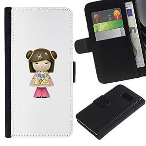 Modelo de Caracteres historieta del Anime- la tarjeta de Crédito Slots PU Funda de cuero Monedero caso cubierta de piel Para Samsung Galaxy S6