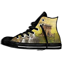 SmallHan Unisex Fairy House By The Lake Illustration Of A Fictional Situation In The Form Collage Of Photos High Top Sneakers Canvas Shoes Design Sport Shoes Vintage Black