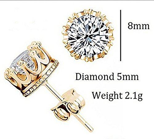 Fashion Crown 18k Gold Plated Earrings Women Men Sterling Silver Crystal Jewerly Stud Earrings by Anzona (Image #2)