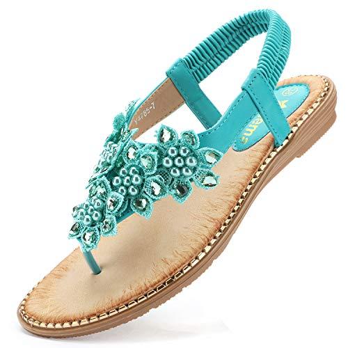 Odema Women's Bohemian Flat Sandals Elastic Slip On Flower Rhinestone Flip Flop Shoes Green