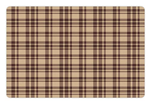 Ambesonne Pet Mat for Food and Water, Rectangle Non-Slip Rubber Mat for Dogs and Cats, Old Fashioned Check Plaid Pattern Scottish Tartan Inspired Geometric Design, Brown Tan