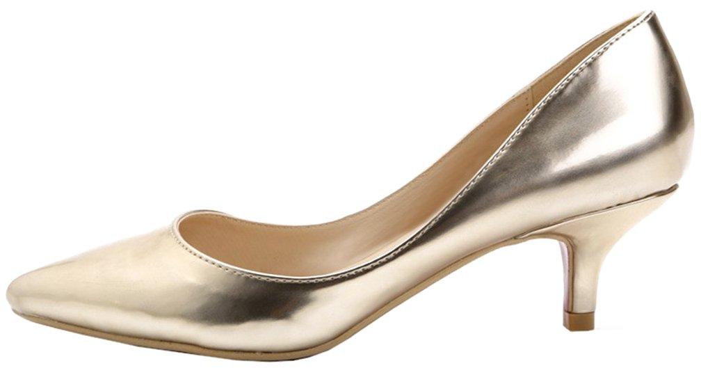 Calaier Mujer Cawindy Tacón de Aguja 3CM Sintético Ponerse Zapatos de Tacón 41 EU Gold
