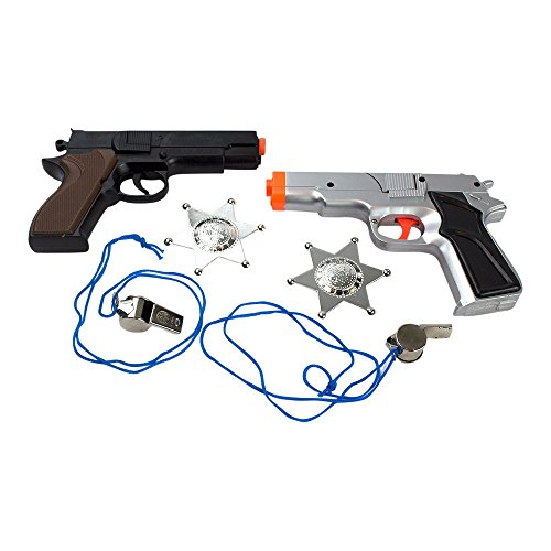 6-Piece Toy Pistol Bundle Includes 2 45 Style Police Revolver Cap Guns 1 Silver and 1 Black and Brown finish with 2 Whistles and 2 Deputy Sheriffs Badges for Dress-Up by Imprints Plus (G9)