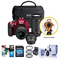 Nikon D3400 DX-Format DSLR Camera Red, with 35mm 1.8 AF-P DX, 18-55mm F/3.5-5.6G VR, AF-P DX 70-300mm F/4.5-6.3G ED Lenses - Bundle With 16GB SDHC Card, 55mm Filter Kit, Cleaning Kit, Software Package