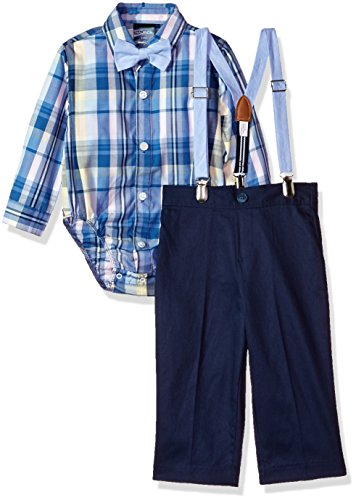Nautica Baby  Boys' Set with Shirt, Pant, Suspenders, and Bow Tie, Madras Navy Blazer, 12M