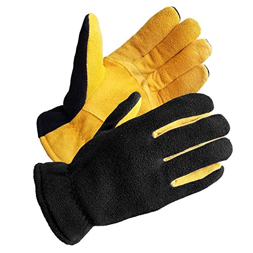 Genuine Mens Fleece - SKYDEER Mens Winter Sport Gloves - Premium Genuine Soft Deerskin Suede Leather and Polar Fleece Gloves, with 3M Thinsulate Insulation Suitable for Outdoor Sport and Keep Warm in Cold Weather(Yellow L)