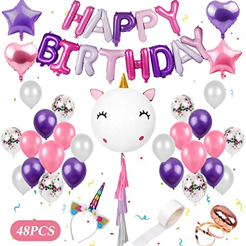 Unicorn Birthday Balloons Party Decorations - 48 Pieces Unicorn Party Supplies Kit | DIY Giant Unicorn Balloons Set Including Unicorn Headband, Happy Birthday Balloons for Girls Unicorn Party Favors