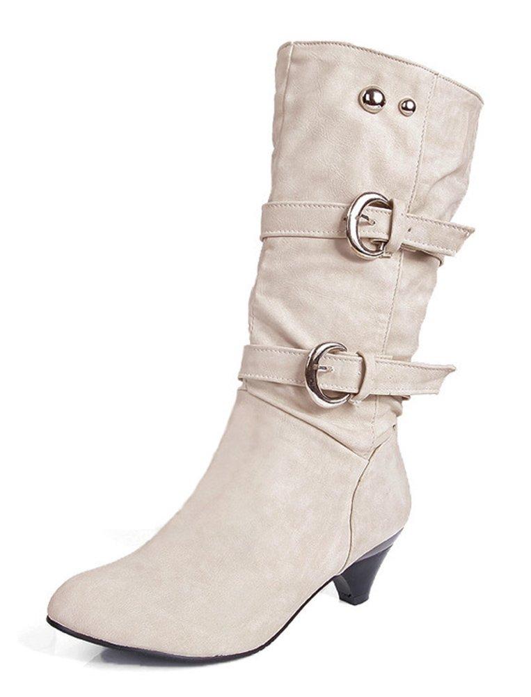 Aisun Women's Stylish Cool Round Toe Buckle Strap Dress Chunky Medium Heel Mid Calf Boots Shoes Beige 8.5 B(M) US by Aisun (Image #1)